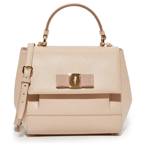Salvatore Ferragamo Carrie satchel in new bisque - A structured Salvatore Ferragamo satchel in luxe...