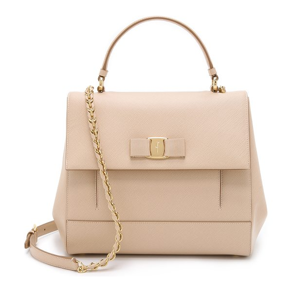 Salvatore Ferragamo Carrie satchel in new bisque - A compact Salvatore Ferragamo satchel in luxe saffiano...