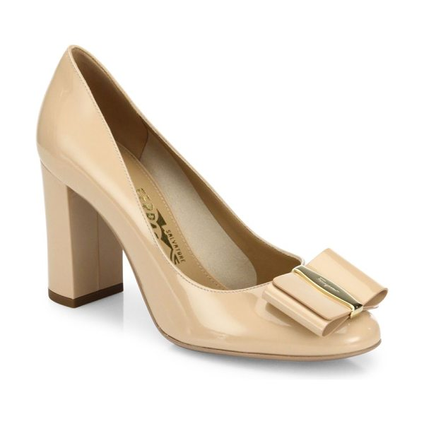 Salvatore Ferragamo elinda leather bow pumps in new bisque - Bow ornamentation uplifts these leather pumps....