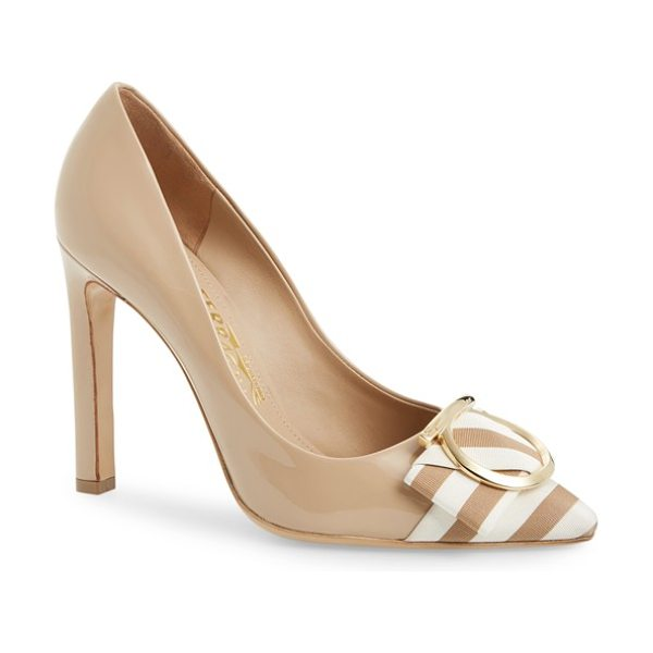 Salvatore Ferragamo eliza pointy toe pump in nude patent - Striped grosgrain ribbon and graceful logo hardware...