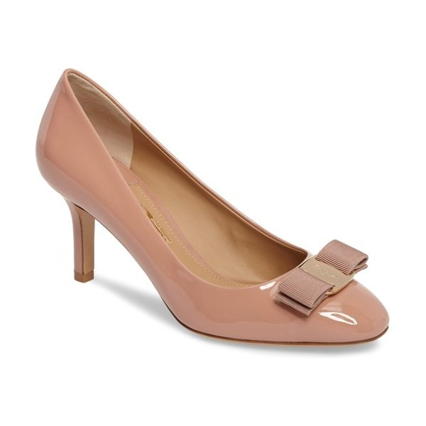 Salvatore Ferragamo erice bow pump in new blush - A signature grosgrain-ribbon bow secured with a gilded...
