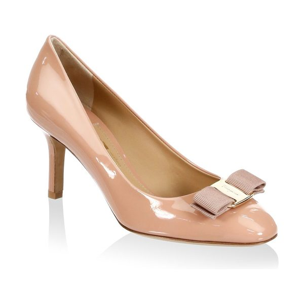 """Salvatore Ferragamo erice leather pumps in new pink - Leather pumps with grosgrain bow. Self-covered heel, 3""""..."""