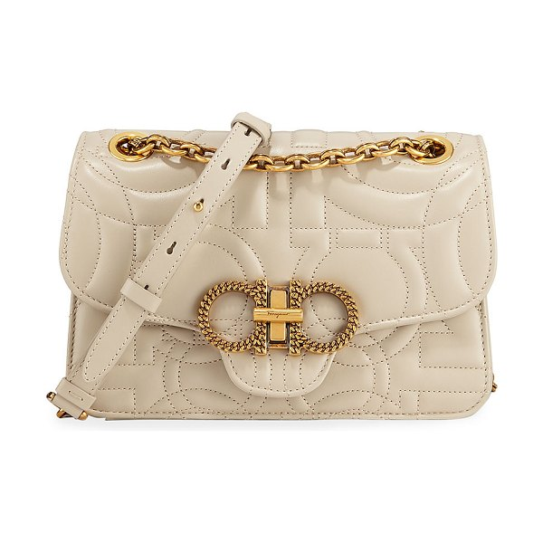 Salvatore Ferragamo Gancini Quilted Leather Shoulder Bag in white peony