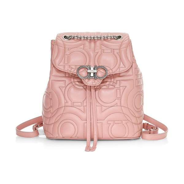 Salvatore Ferragamo gancino quilted leather backpack in antique rose