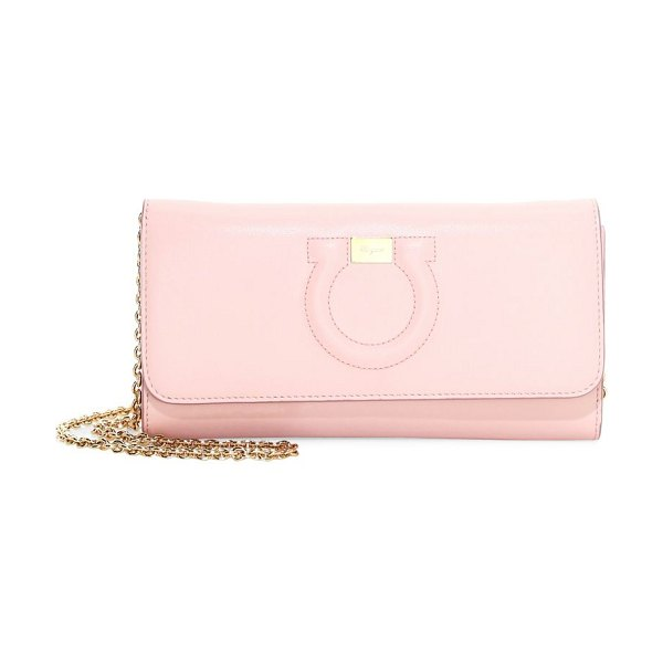 Salvatore Ferragamo mini city gancini leather wallet-on-chain in pink