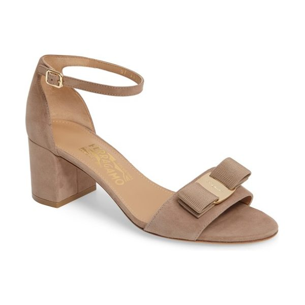 Salvatore Ferragamo block heel bow sandal in clay suede - A signature Vara grosgrain bow centered with...