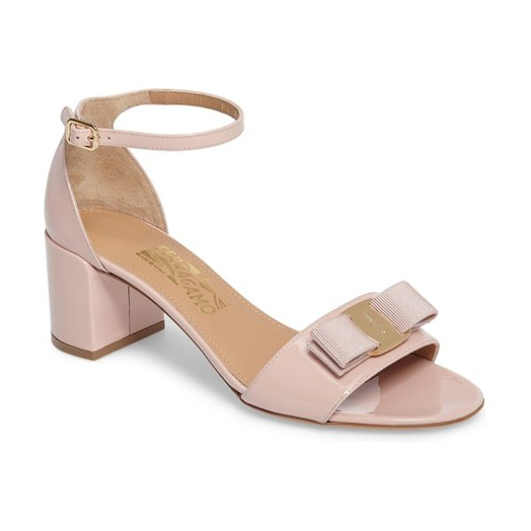 Salvatore Ferragamo gavina ankle strap sandal in bon bon pink - Glossy patent leather in a pretty pink hue is the...