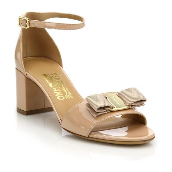 Salvatore Ferragamo gavina patent leather block heel sandals in beige