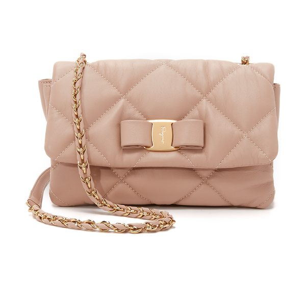 Salvatore Ferragamo Gelly shoulder bag in new bisque - Soft quilted leather brings a luxurious feel to this...