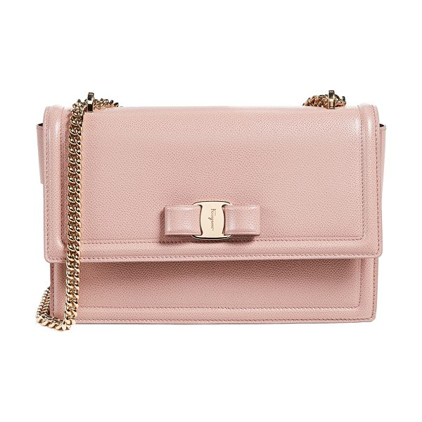 SALVATORE FERRAGAMO ginny cross body bag in antique rose - Leather: Calfskin Bow & logo plate Push-button clasp at...