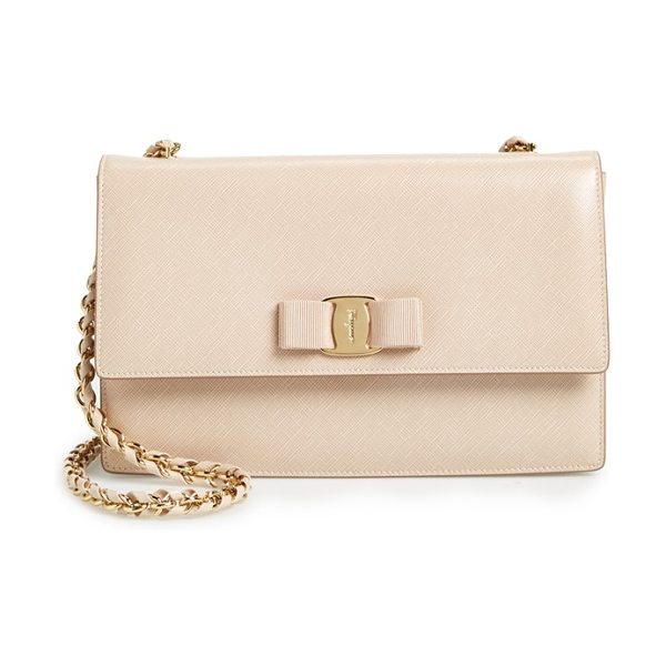 Salvatore Ferragamo saffiano leather shoulder bag in new bisque - Gancio lock hardware and a signature grosgrain bow...