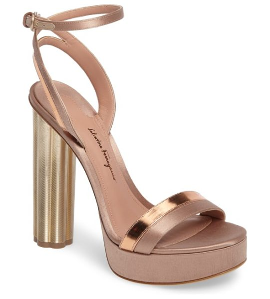Salvatore Ferragamo ankle strap platform sandal in rose gold satin - Ferragamo's gilded flower heel ascends to new heights on...