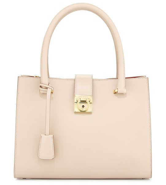 Salvatore Ferragamo Juliette lock story tote bag in new bisque - Salvatore Ferragamo smooth calfskin tote bag. Rolled top...