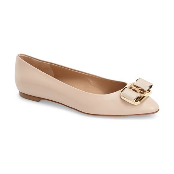 Salvatore Ferragamo lola ballerina flat in new bisque - A layered grosgrain bow, leopard-print calf hair and...
