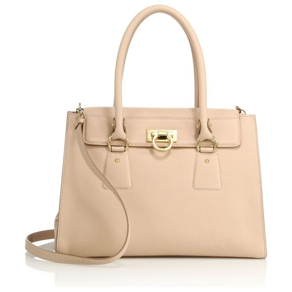SALVATORE FERRAGAMO lotty small leather satchel in new bisque - Sophisticated leather satchel with two-compartment...
