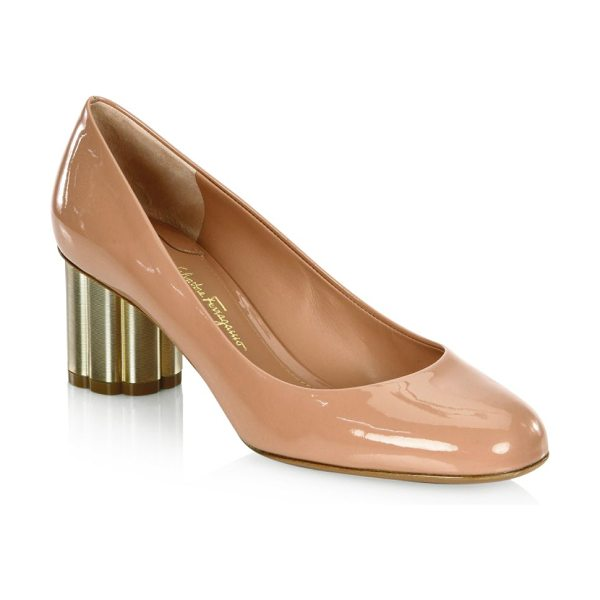 Salvatore Ferragamo lucca patent leather flower heel pumps in blush - Flower-shaped metallic heel elevates patent pump....