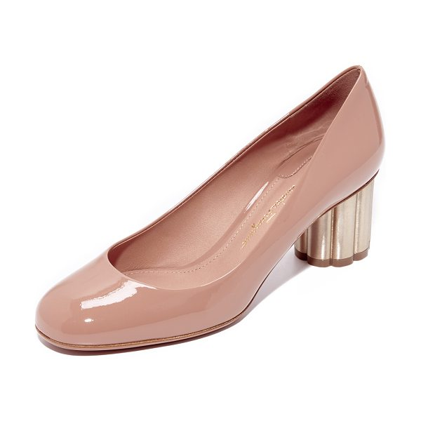 Salvatore Ferragamo lucca pumps in new blush - A scalloped metal heel adds eye-catching style to these...