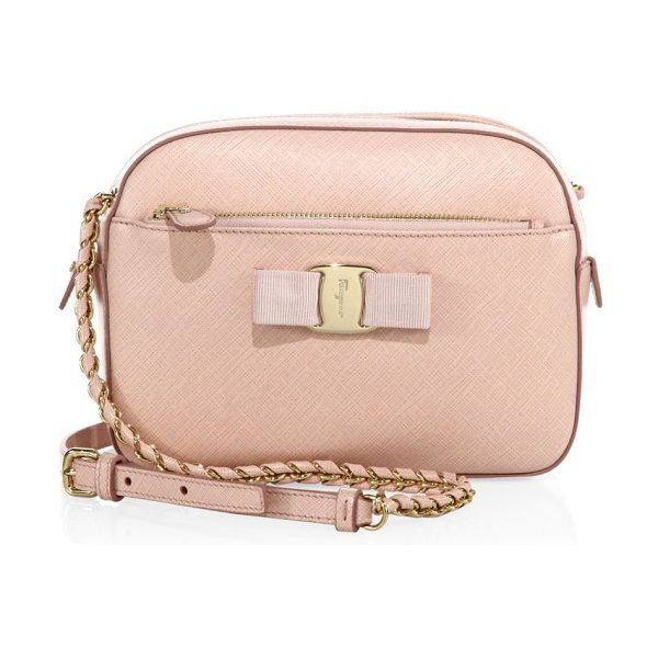Salvatore Ferragamo Lydia saffiano leather crossbody in blush - From the Vara Collection. An enduring petite style,...