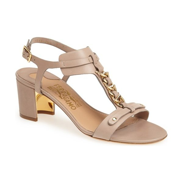 Salvatore Ferragamo maki sandal in taupe - A goldtone chain glimmers on a buttery-soft leather...