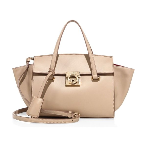 SALVATORE FERRAGAMO mara leather tote in new bisque - Smooth, solid leather tote with spacious interior....