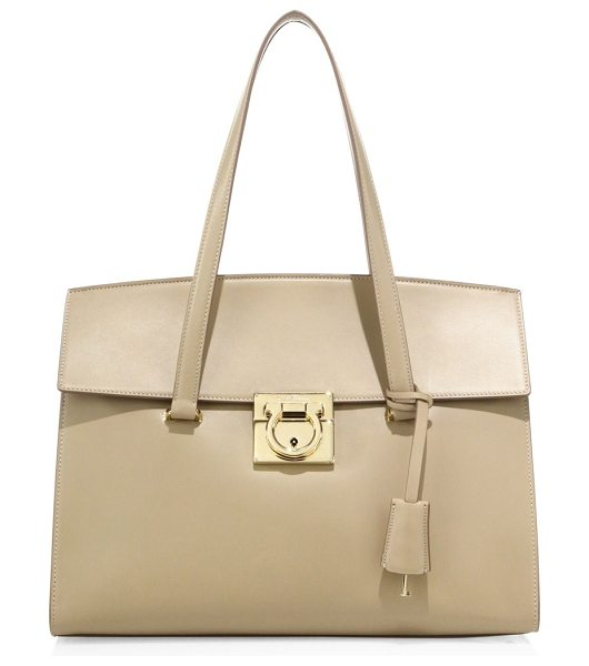 Salvatore Ferragamo mara medium leather satchel in new bisque - Sleek leather satchel with oversized Gancini lock....