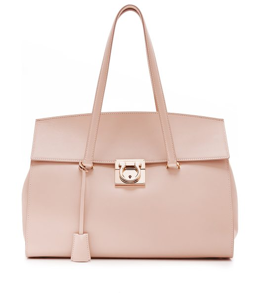 Salvatore Ferragamo mara satchel in new bisque - A structured Salvatore Ferragamo satchel with gathered...