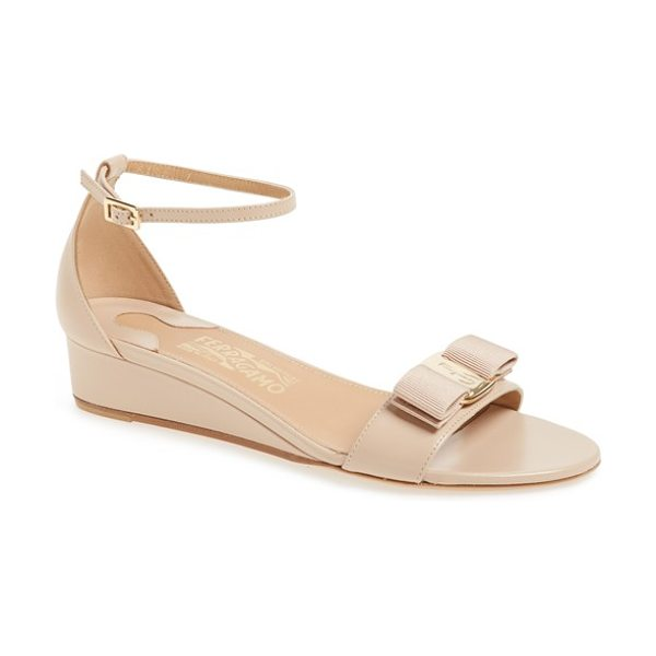 SALVATORE FERRAGAMO margot ankle strap wedge sandal - A signature Vara grosgrain bow centered with logo-etched...