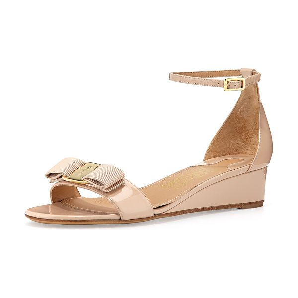 "Salvatore Ferragamo Margot patent bow demi-wedge in new bisque - Salvatore Ferragamo patent leather sandal. 1 1/2""..."
