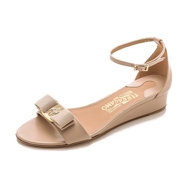 SALVATORE FERRAGAMO Margot wedge sandals in new bisque - These elegant, low heeled Salvatore Ferragamo sandals...