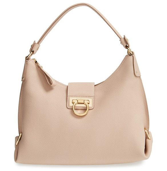 Salvatore Ferragamo 'medium fanisia' hobo in new bisque - Impeccable Gancio hardware shines on the sleek,...