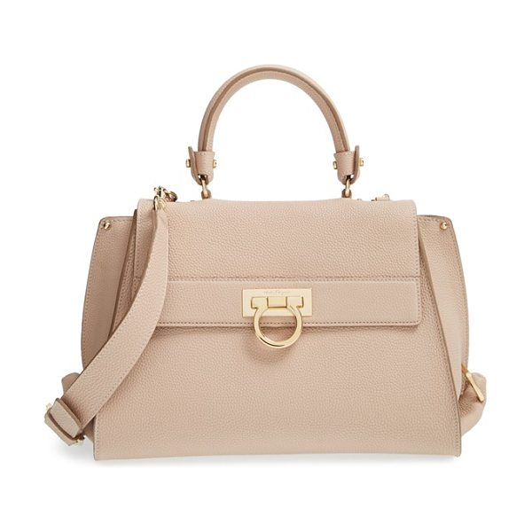 Salvatore Ferragamo Medium sofia leather satchel in new bisque - Detailed with a gleaming Ferragamo flip lock and...