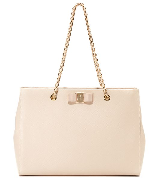 SALVATORE FERRAGAMO Melike bag in new bisque - A sophisticated Salvatore Ferragamo satchel made from...