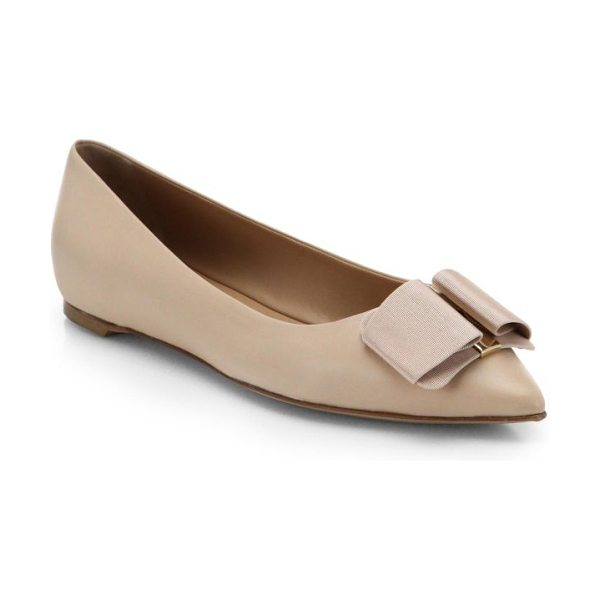 Salvatore Ferragamo mini leather point toe ballet flats in beige - Feminine point-toe ballet flats in supple Italian...