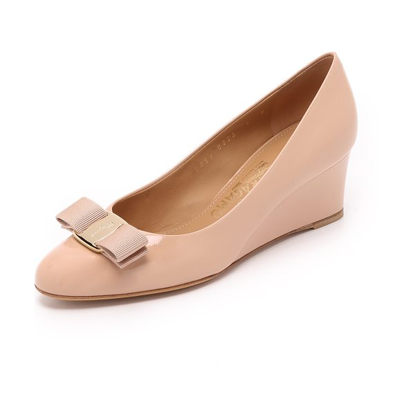Salvatore Ferragamo Mirabel demi wedges in new bisque - Glossy patent leather gives these bow trimmed Salvatore...