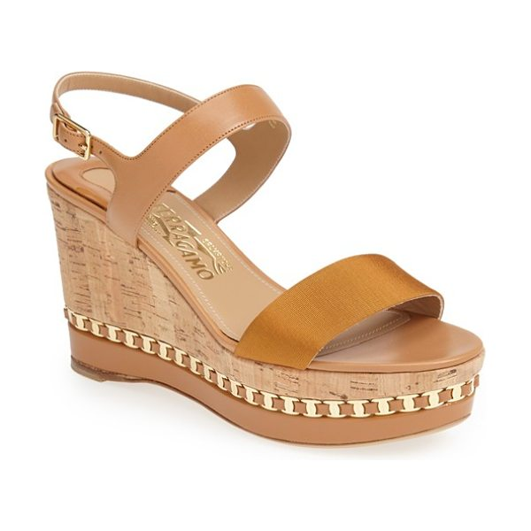 Salvatore Ferragamo mollie wedge sandal in tan - A signature goldtone chain adorns a sophisticated sandal...