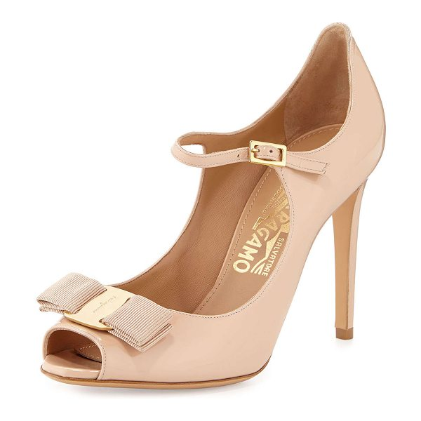 "Salvatore Ferragamo Mood patent peep-toe pump in new bisque - Salvatore Ferragamo patent leather pump. 4"" covered..."