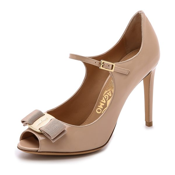 Salvatore Ferragamo Mood peep toe pumps in new bisque - These peep toe Salvatore Ferragamo mary janes are...