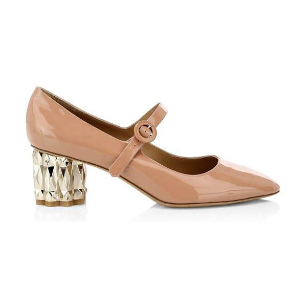 Salvatore Ferragamo ortensia faceted-heel patent leather mary janes in blush