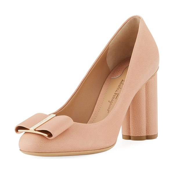 "Salvatore Ferragamo Capua 85 Pebbled Leather Flower-Heel 85mm Pumps in blush - Salvatore Ferragamo ""Capua 85"" pebbled leather pump...."