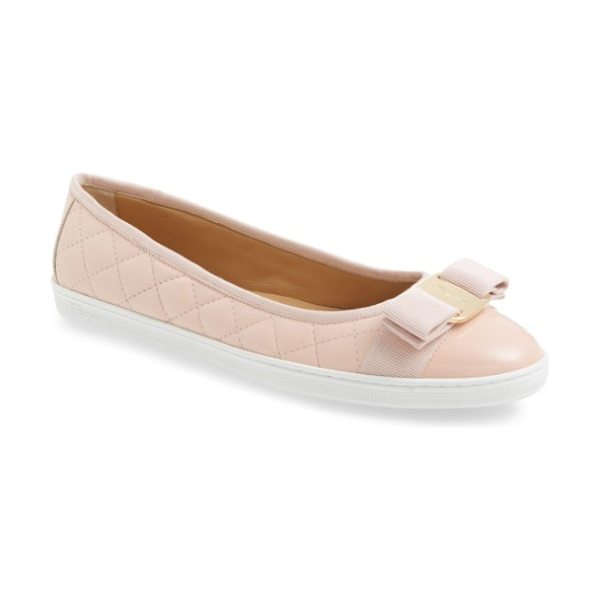 Salvatore Ferragamo rufina quilted skimmer flat (women) in pink - A grosgrain bow tops an elegant flat that features...