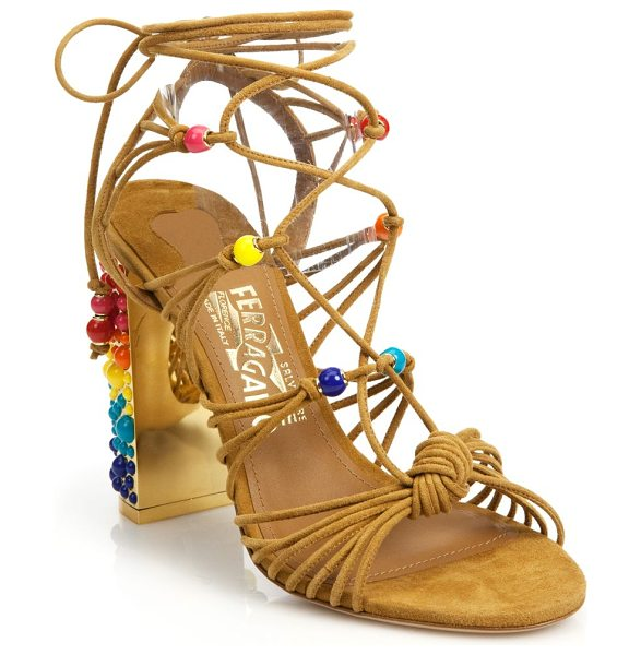 Salvatore Ferragamo Rainbow suede lace-up gladiator sandals in brown-multi