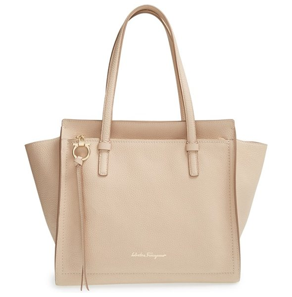 Salvatore Ferragamo medium amy calfskin leather tote in new bisque - Gorgeously textured calfskin leather shapes the pristine...