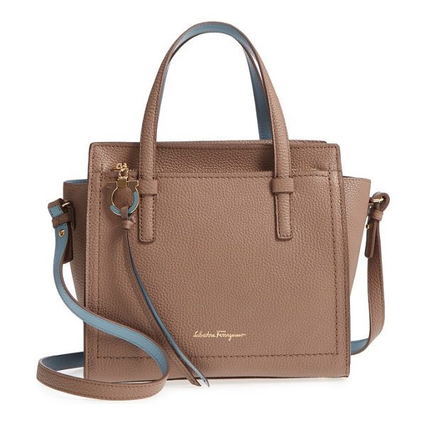 Salvatore Ferragamo small amy leather tote in fango/ blu haze - Richly pebbled leather in two complimentary hues refines...