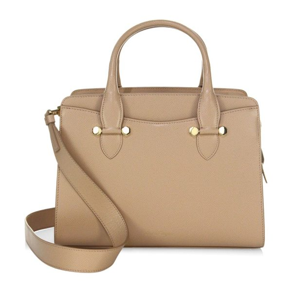 Salvatore Ferragamo small leather satchel in almond - Small satchel crafted of rich leather. Double top...