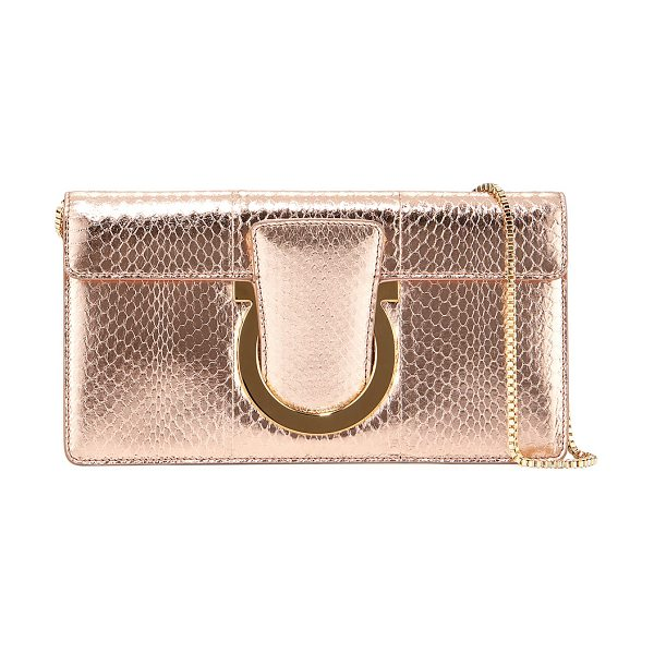 Salvatore Ferragamo Small Snakeskin Clutch Bag in blush - Salvatore Ferragamo clutch bag in crinkled metallic...