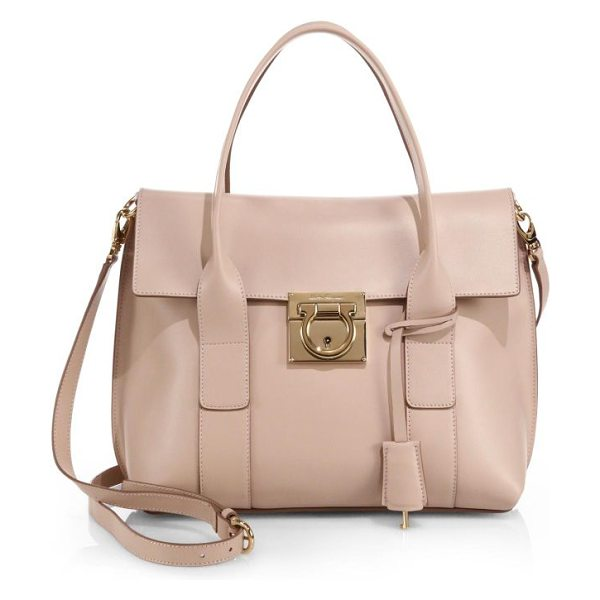 Salvatore Ferragamo Small sookie leather satchel in newbisque - The sharp silhouette of this refined satchel is cut from...