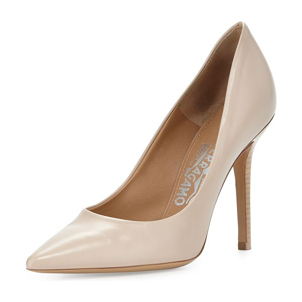 """Salvatore Ferragamo Susi leather 100mm pointed-toe pump in new bisque - Salvatore Ferragamo calf leather pump. 4"""" staked heel...."""