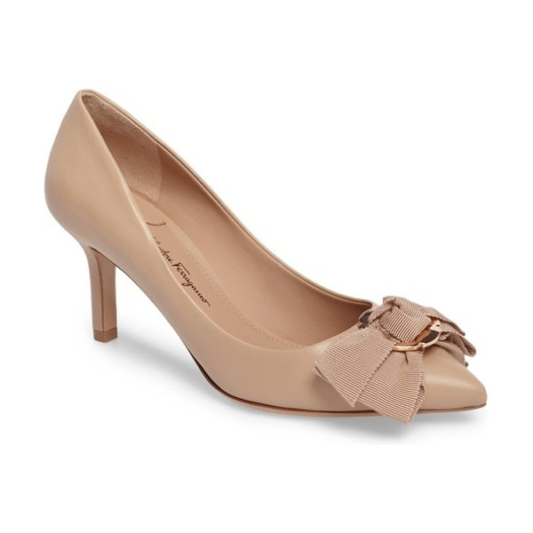 Salvatore Ferragamo talla bow pointy toe pump in almond - A gilded flower plate secures a scalloped-grosgrain bow...