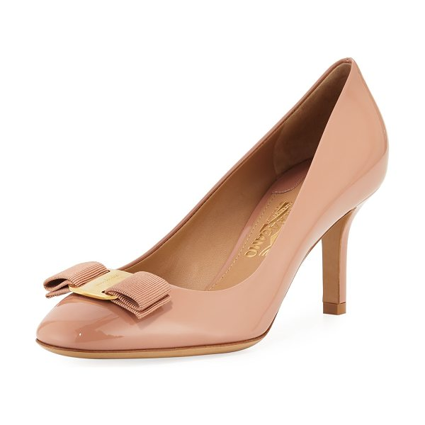 Salvatore Ferragamo Erice70 Vara Bow Patent 70mm Pumps in new blush