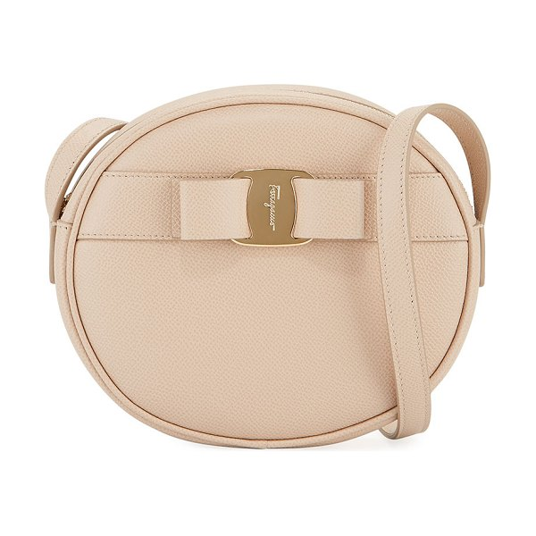 Salvatore Ferragamo Vara Bow Round Zip Crossbody Bag in beige